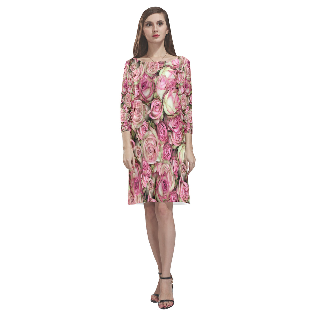 Your Pink Roses Rhea Loose Round Neck Dress(Model D22)