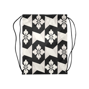 "Black White Tiles Medium Drawstring Bag Model 1604 (Twin Sides) 13.8""(W) * 18.1""(H)"