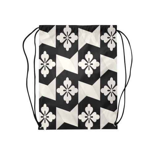 Black White Tiles Medium Drawstring Bag Model 1604 (Twin Sides) 13.8