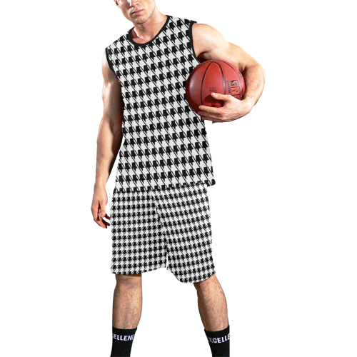 Black White Houndstooth All Over Print Basketball Uniform