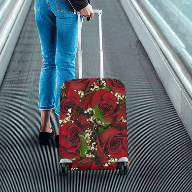 Carmine Roses Luggage Cover/Small 24'' x 20''