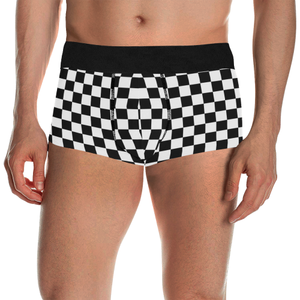 Black White Checkers Men's All Over Print Boxer Briefs/Short Size (Model L22)