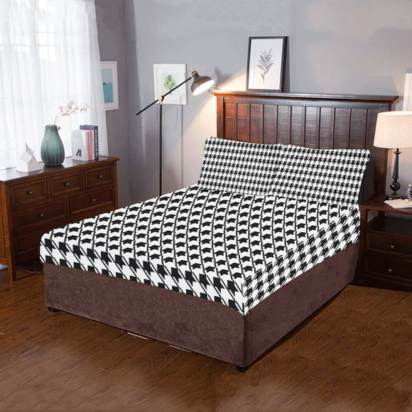 Black White Houndstooth 3-Pieces Bedding Set