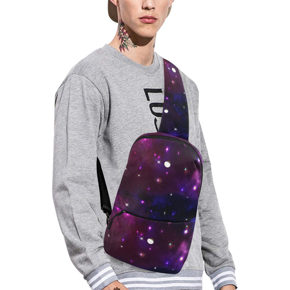Midnight Blue Purple Galaxy Chest Bag (Model 1678)