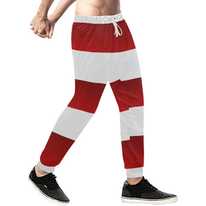 Red White Stripes Men's All Over Print Sweatpants (Model L11)