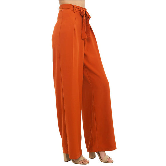 Haoduoyi Women Orange Wide Leg Chiffon High Waist Drawstring Front Trousers Pants