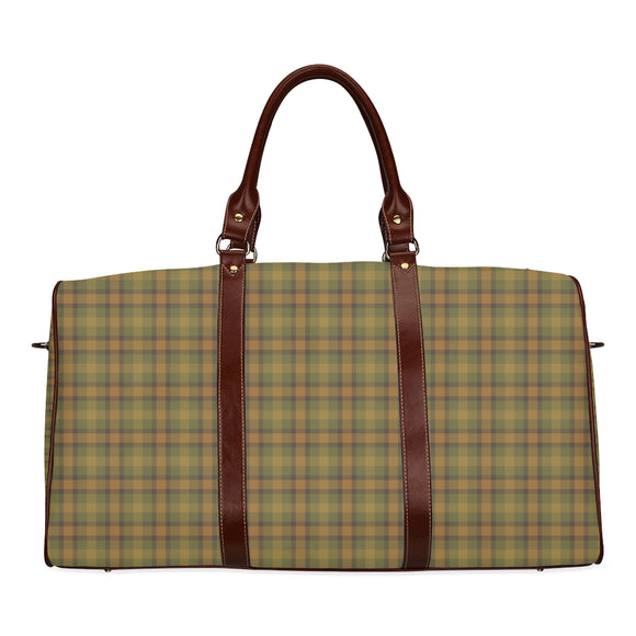 Gold Olive Plaid Waterproof Travel Bag/Small (Model 1639)