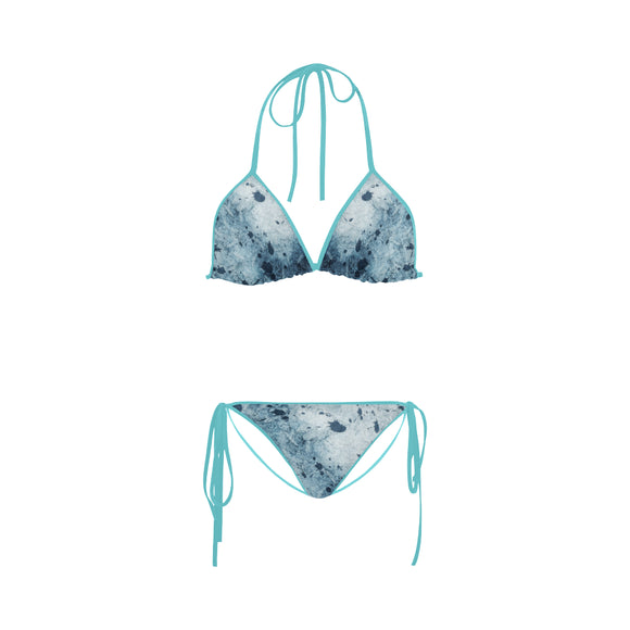 Water Blue Splatter Custom Bikini Swimsuit