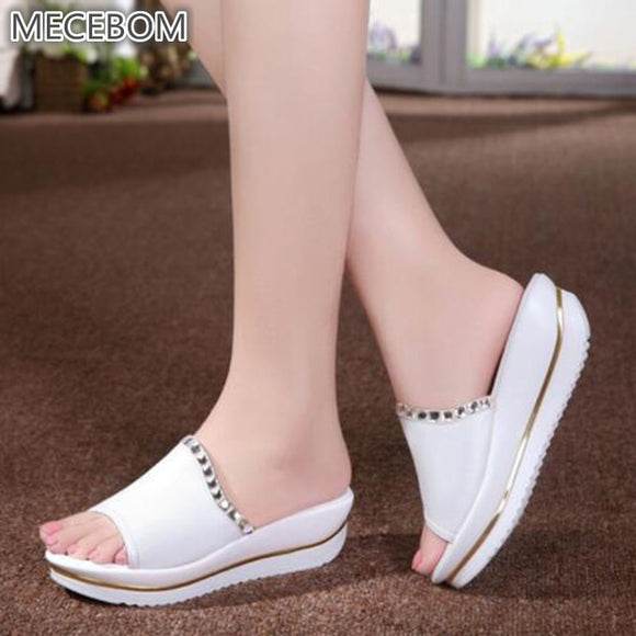 Women's Rubber Platform Wedge Beach Flip Flops High Heel Slippers