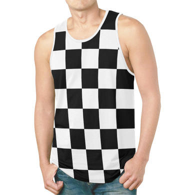 Black White Checkers New All Over Print Tank Top for Men (Model T46)
