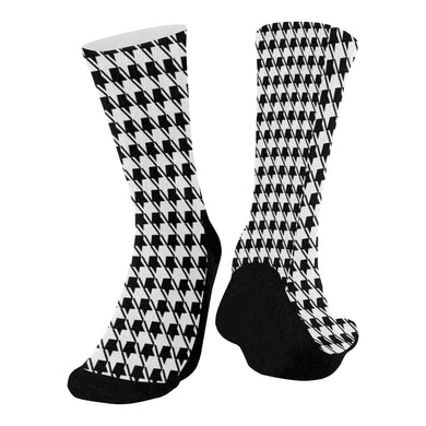 Black White Houndstooth Mid-Calf Socks (Black Sole)