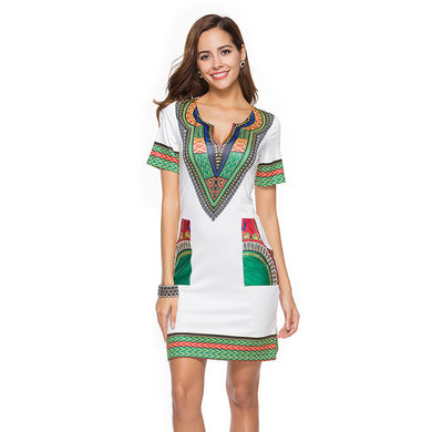 Women's V Neck Patchwork African Print Mini Dress