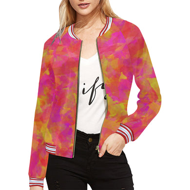 Yellow Red Damask All Over Print Bomber Jacket for Women (Model H21)