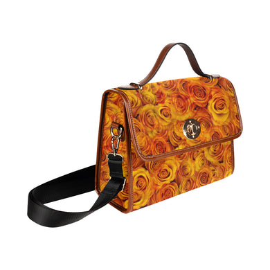 Grenadier Tangerine Roses Waterproof Canvas Bag/All Over Print (Model 1641)