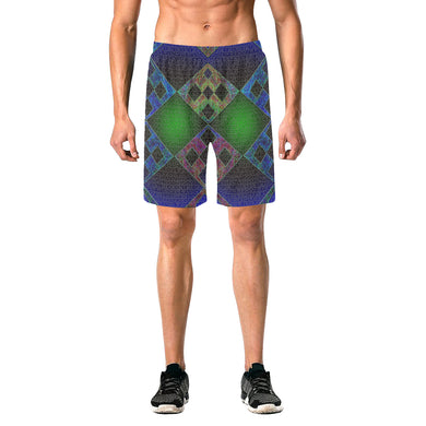 Bluish Elements Men's All Over Print Elastic Beach Shorts (Model L20)