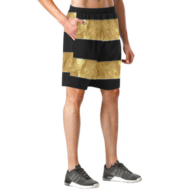 Black Gold Stripes Men's All Over Print Elastic Beach Shorts (Model L20)