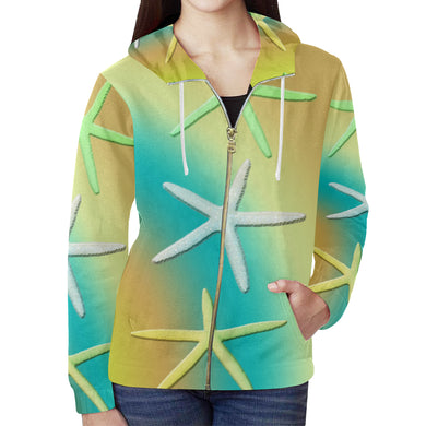 Lime White Yellow Starfishes All Over Print Full Zip Hoodie for Women (Model H14)