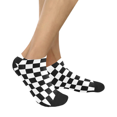 Black White Checkered Women's Ankle Socks