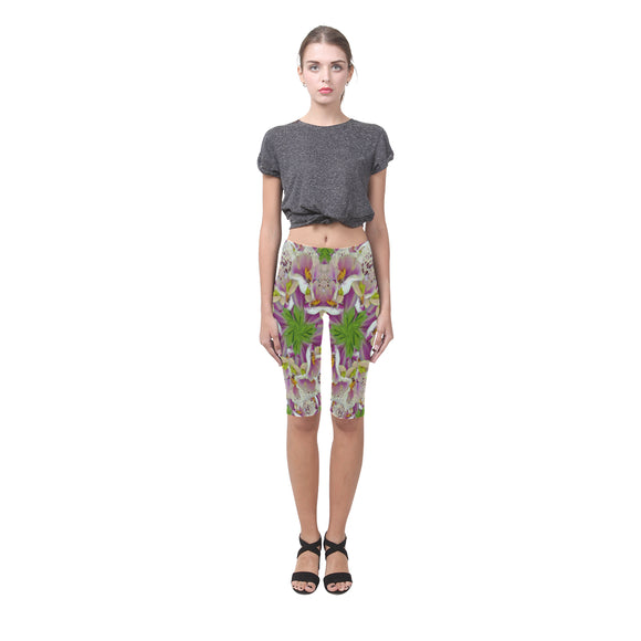 Digitalis Purpurea Flora Hestia Cropped Leggings (Model L03)