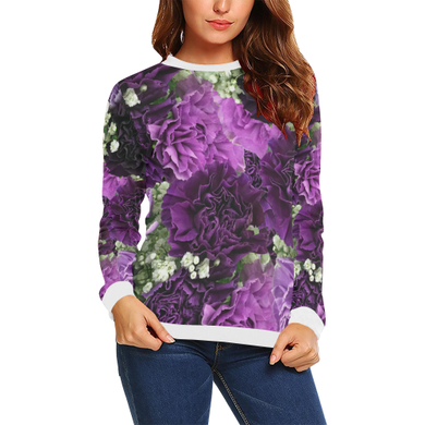 Little Purple Carnations All Over Print Crewneck Sweatshirt for Women (Model H18)