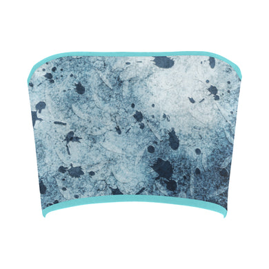 Water Blue Splatter Bandeau Top