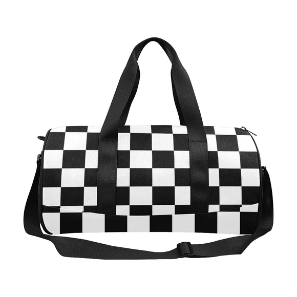 Black White Checkered Duffle Bag (Model 1679)