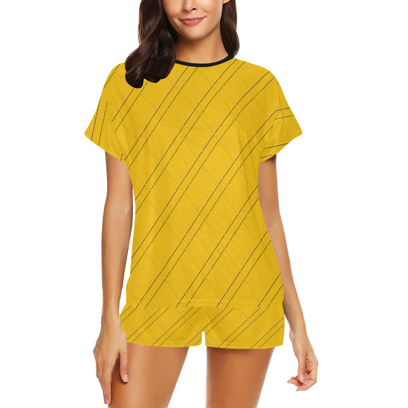 Selective Yellow Crisscross Women's Short Pajama Set (Sets 01)