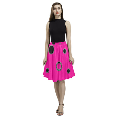 Black Polka Dots Melete Pleated Midi Skirt (Model D15)