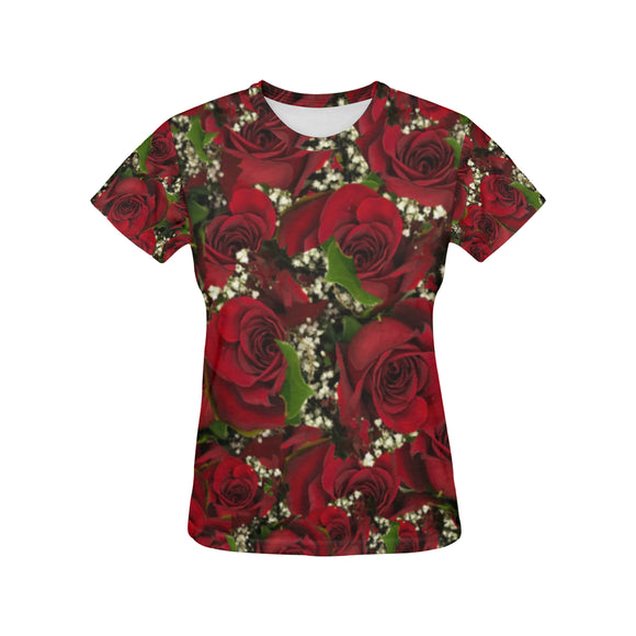 Carmine Roses All Over Print T-Shirt for Women (USA Size) (Model T40)
