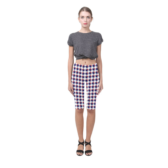 Red White Blue Houndstooth Hestia Cropped Leggings (Model L03)