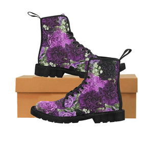 Little Purple Carnations Martin Boots for Women (Black) (Model 1203H)