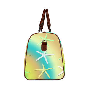 Lime White Yellow Starfishes Waterproof Travel Bag/Small (Model 1639)