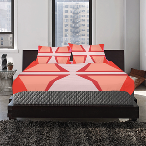 Shades of Red Patchwork 3-Pieces Bedding Set