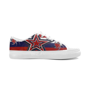 Tricolor Stars Stripes Women's Canvas Zipper Shoes/Large Size (Model 001)