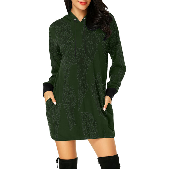 Deep Fir Shades All Over Print Hoodie Mini Dress (Model H27)