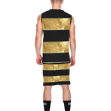 Black Gold Stripes All Over Print Basketball Uniform