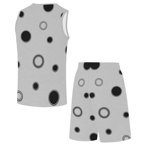 Black Polka Dots All Over Print Basketball Uniform