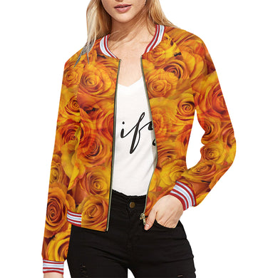Grenadier Tangerine Roses All Over Print Bomber Jacket for Women (Model H21)