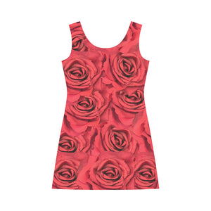 Radical Red Roses Bateau A-Line Skirt (D21)