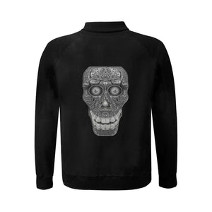 Cod Grey Skull Head Men's Baseball jacket (Model H12)