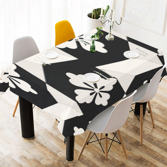 Black White Tiles Cotton Linen Tablecloth 52