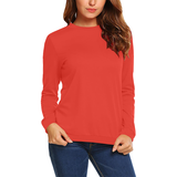 Pomegranate Solid All Over Print Crewneck Sweatshirt for Women (Model H18)