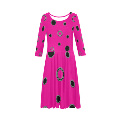 Black Polka Dots Elbow Sleeve Ice Skater Dress (D20)