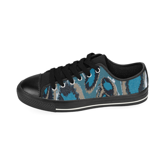 Bluish Smudge Spots Men's Classic Canvas Shoes (Model 018)
