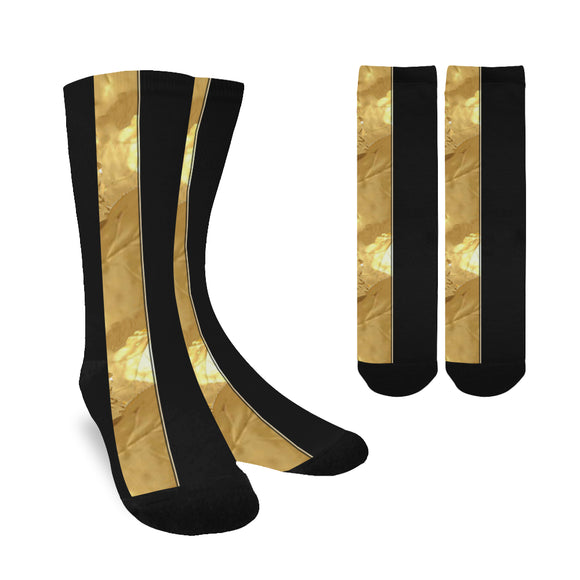 Black Gold Stripes Custom Socks for Women
