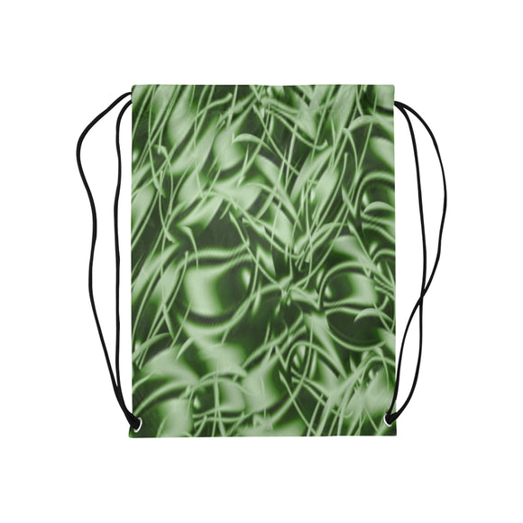 Palm Leaf Dell Medium Drawstring Bag Model 1604 (Twin Sides) 13.8