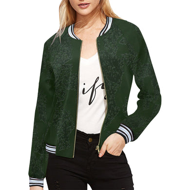 Deep Fir Shades All Over Print Bomber Jacket for Women (Model H21)