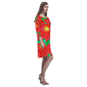 Red Orange Poinsettias Rhea Loose Round Neck Dress(Model D22)