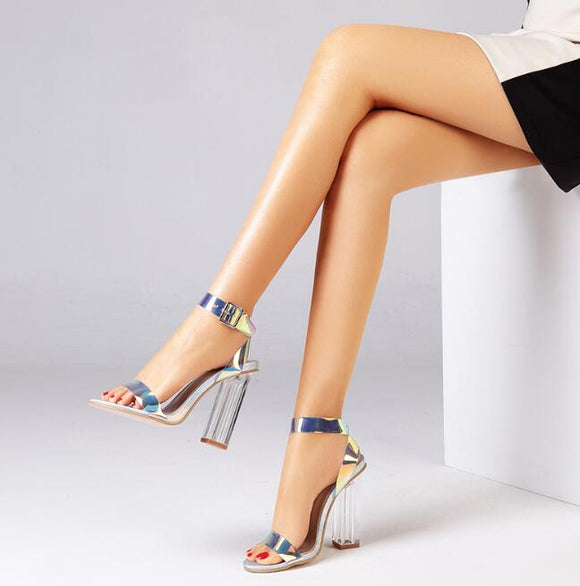 PVC Women Open Toed High Heels Transparent Sandals Pumps 11CM
