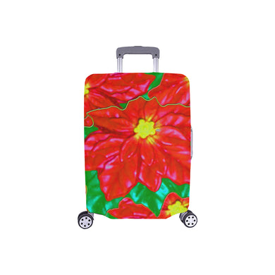 Red Orange Poinsettias Luggage Cover/Small 24'' x 20''
